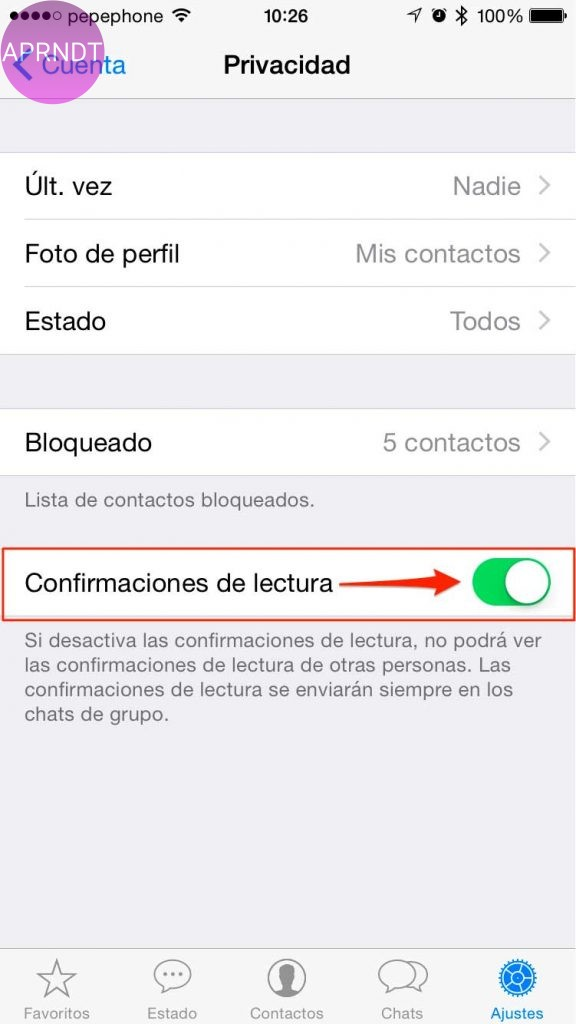 quitar el doble check azul iphone